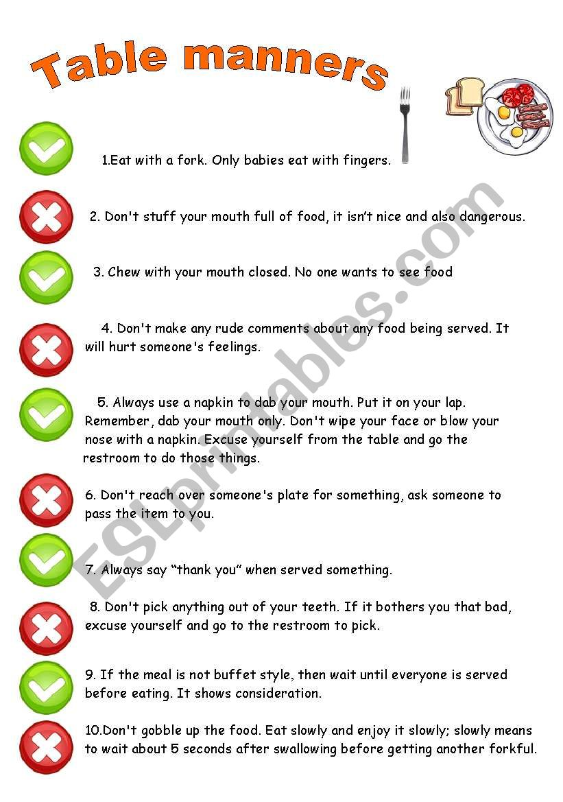 Table Manners Worksheet Elcho Table