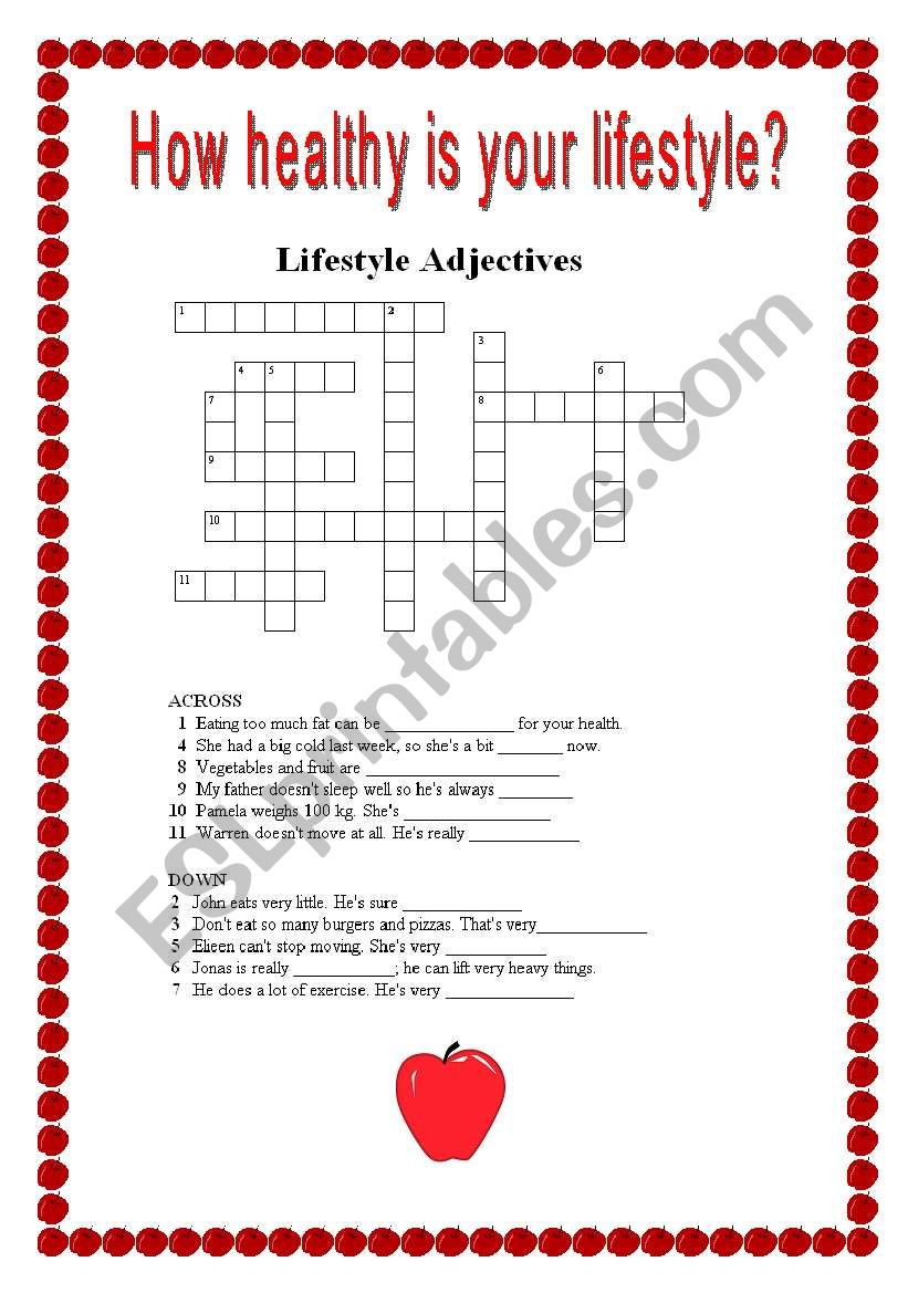 english worksheets  healthy lifestyle crosswords