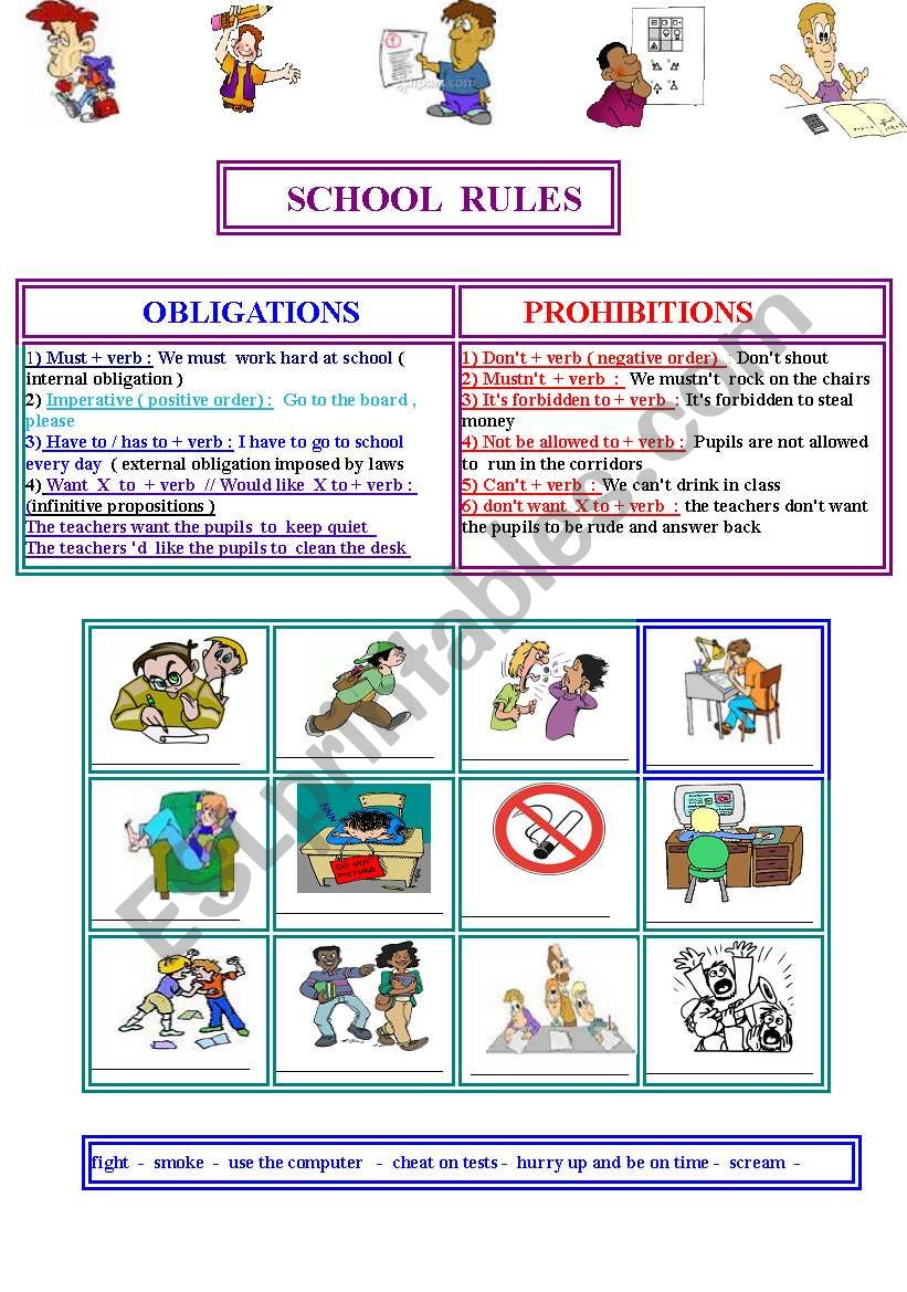 SCHOOL  RULES : prohibitions and obligations