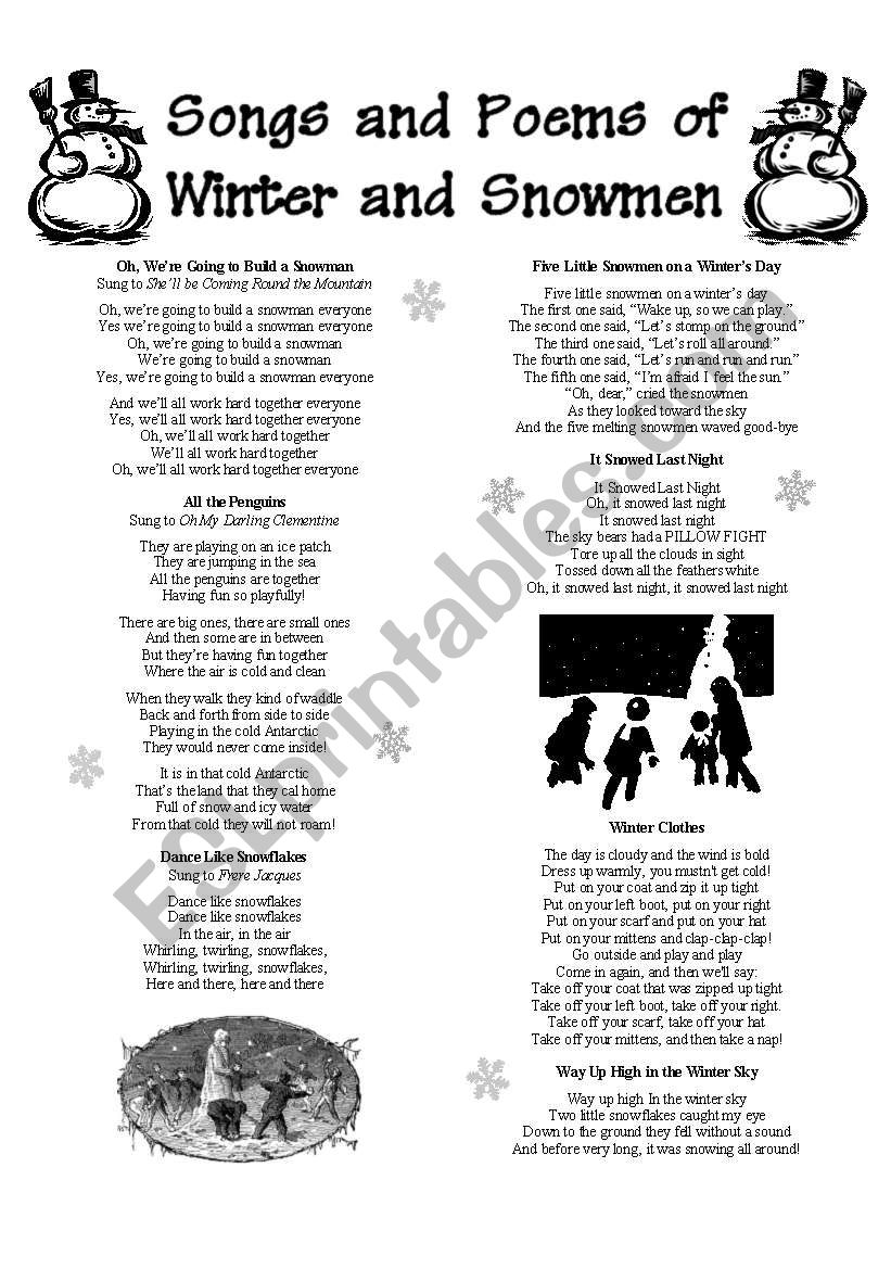 Songs And Poems Of Winter And Snowmen Esl Worksheet By