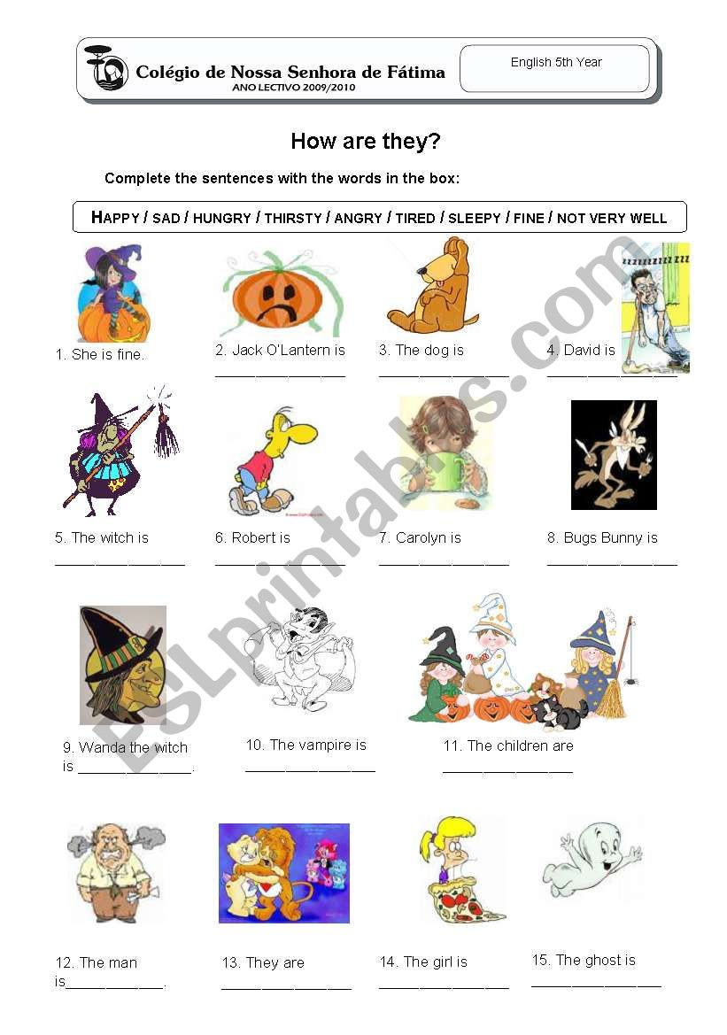 How are they? worksheet