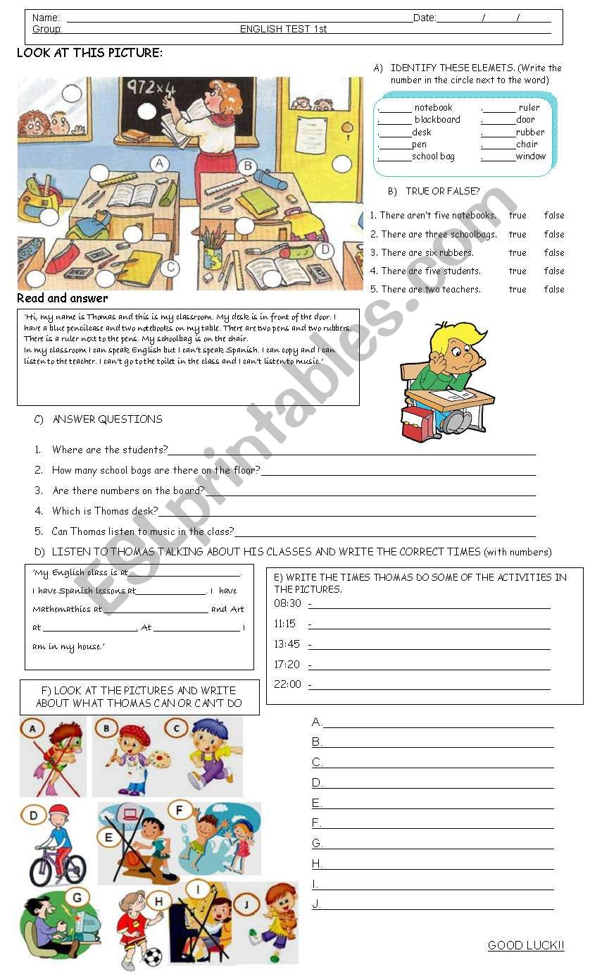 TEST BEGINNERS worksheet