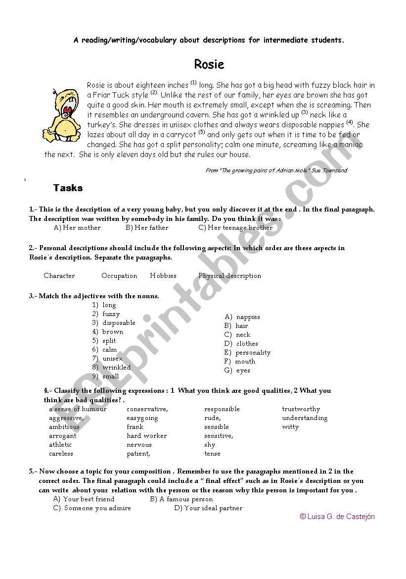 A reading- writing -vocabulary recycling activity for intermediate