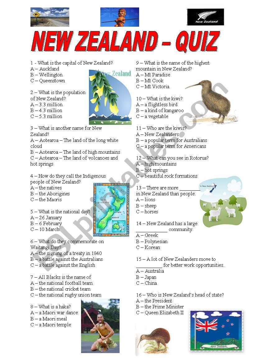 New Zealand - quiz worksheet