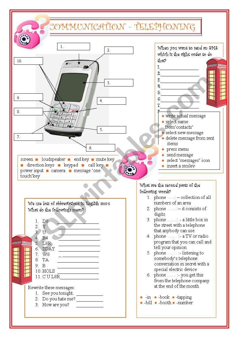 Communication - Telephoning worksheet