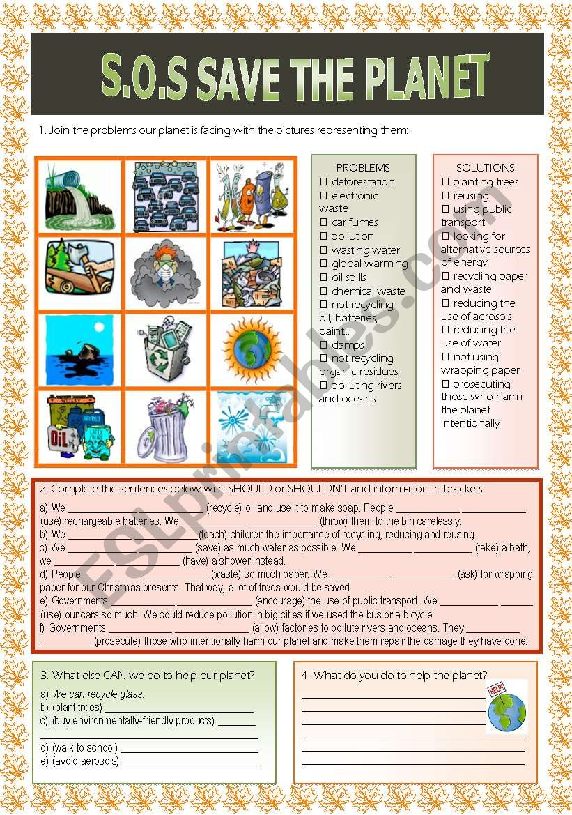S.O.S Save the planet worksheet