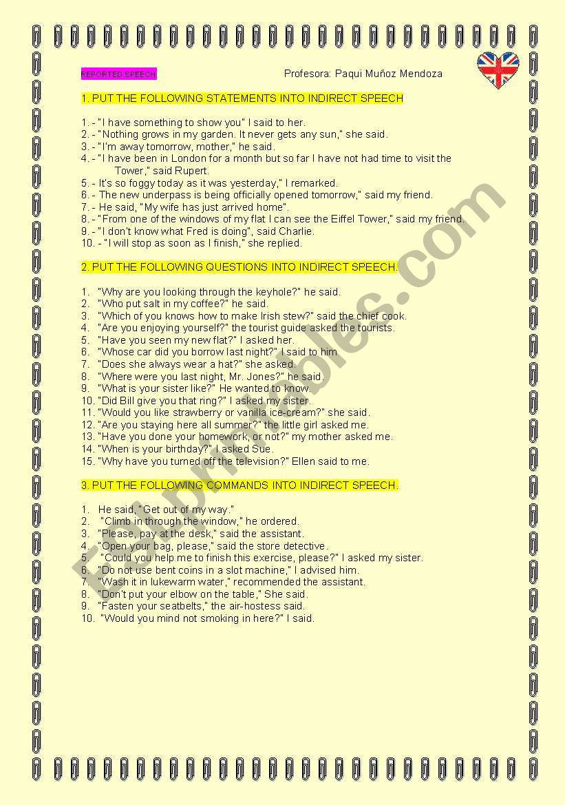 REPORTED SPEECH PRACTICE worksheet