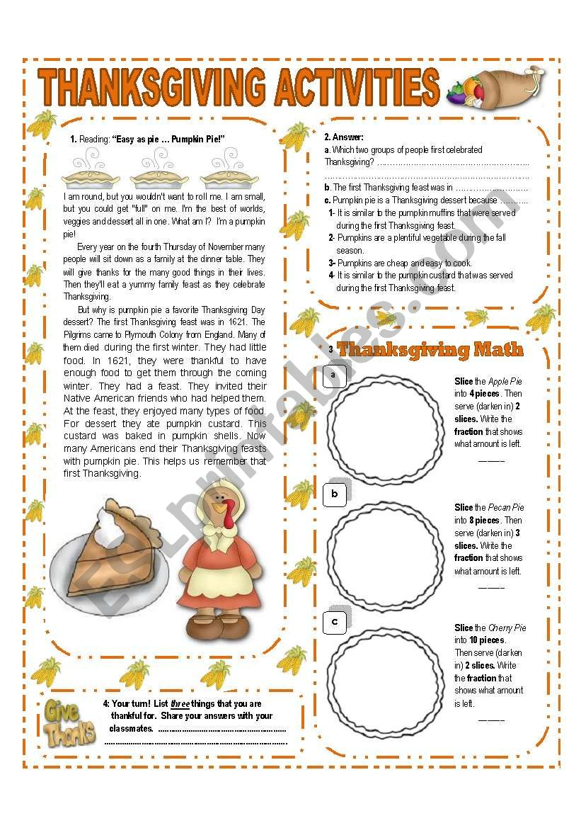 NOVEMBER THEME:THANKSGIVING - ACTIVITIES  WITH KEY - (1/3) - ELEMENTARY