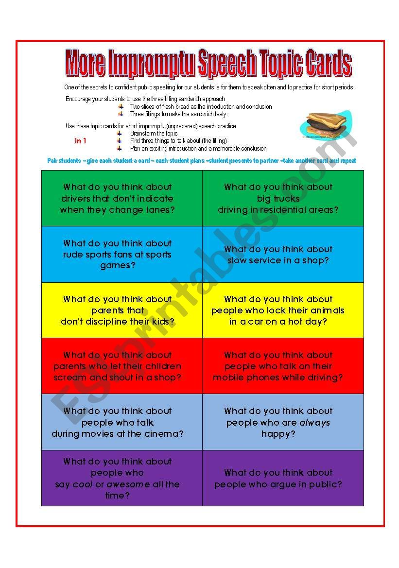 MORE Speech Topic Cards worksheet