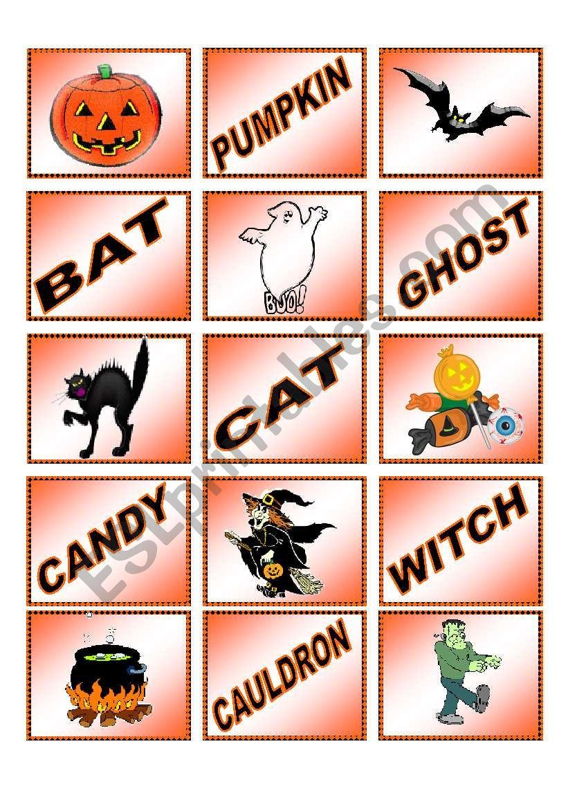Halloween memory cards!  15 pairs.