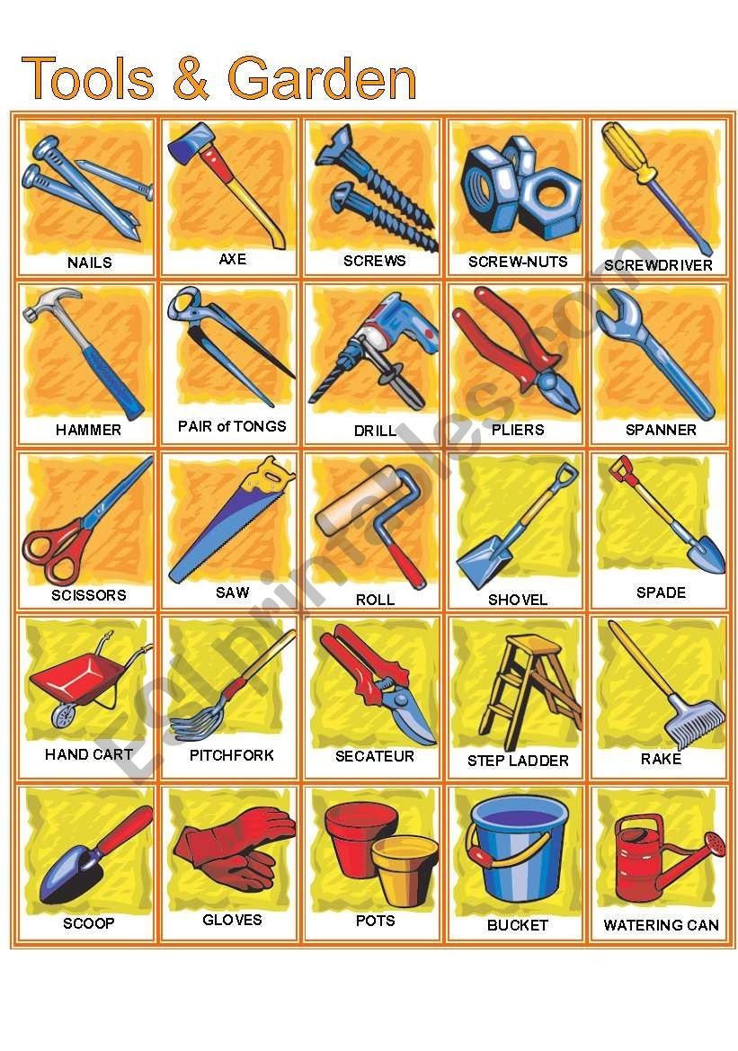 hardware and gardens tools pictionary