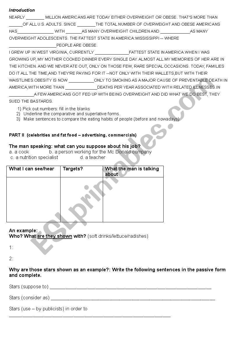 Supersize Me Esl Worksheet By Sandrel