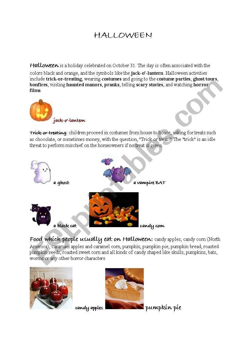 Halloween vocabulary and practice