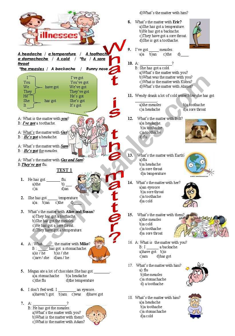 illnesses worksheet
