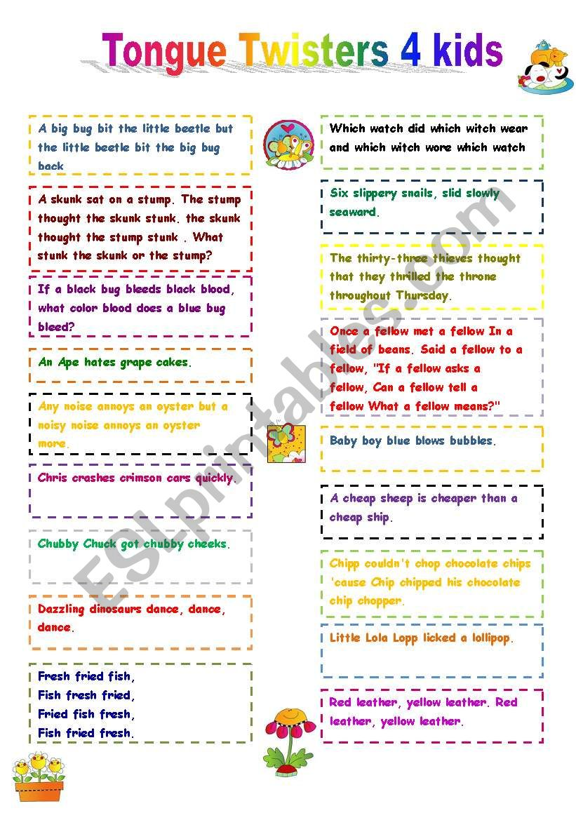 Tongue Twisters for kids worksheet
