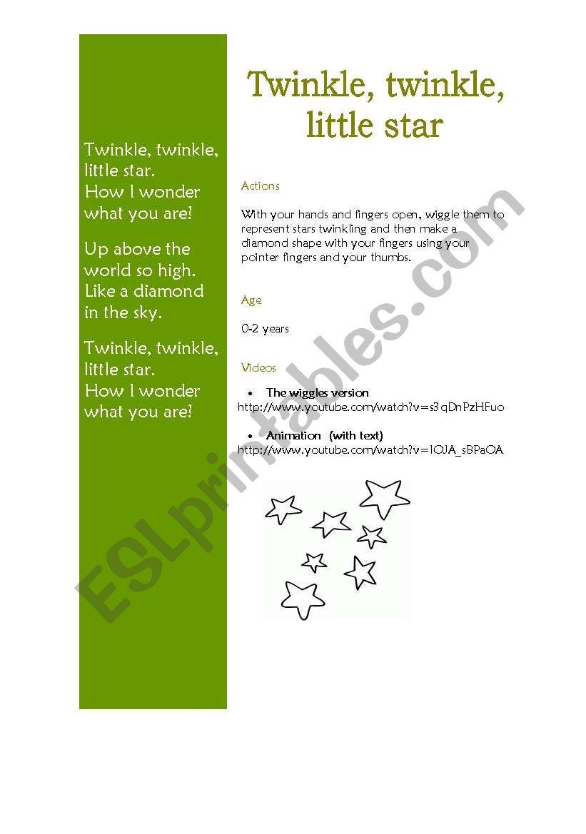 Twinkle, twinkle little star song