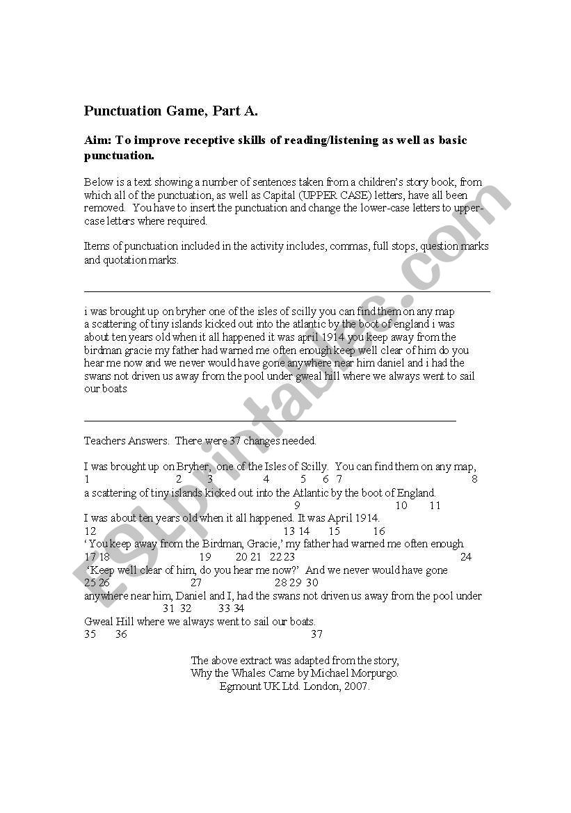 English worksheets: Punctuation game