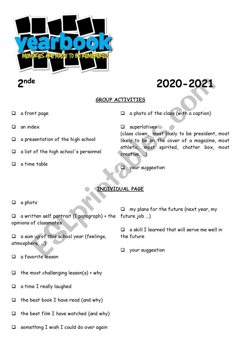 313635_1-Yearbook_activity Esl Comparative Worksheet Pdf on free transportation, family relatives, family members, intermediate grammar, classroom language, first conditional, body parts, food vocabulary,