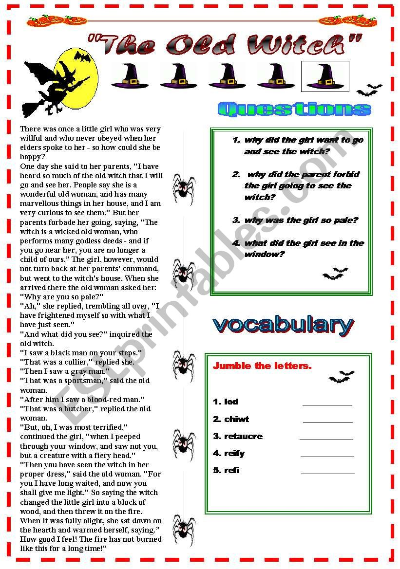THE OLD WITCH! questions and vocabulary activity included