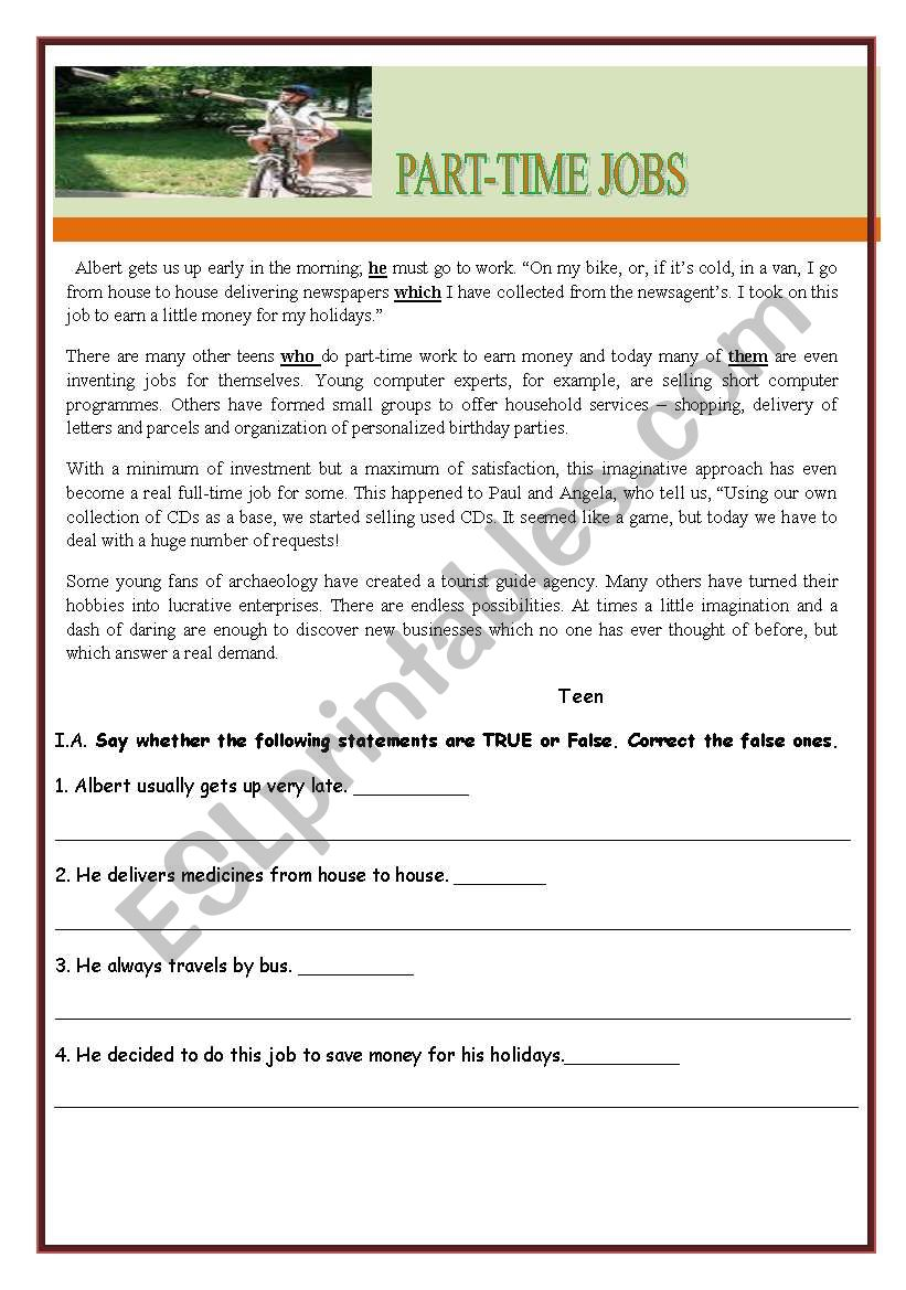 test worksheet part time jobs esl worksheet by teresapr. Black Bedroom Furniture Sets. Home Design Ideas