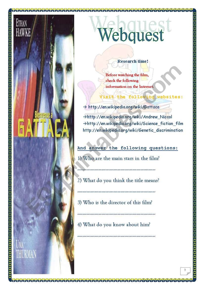 Gattaca Film Webquest 5 Pages Key Included Esl
