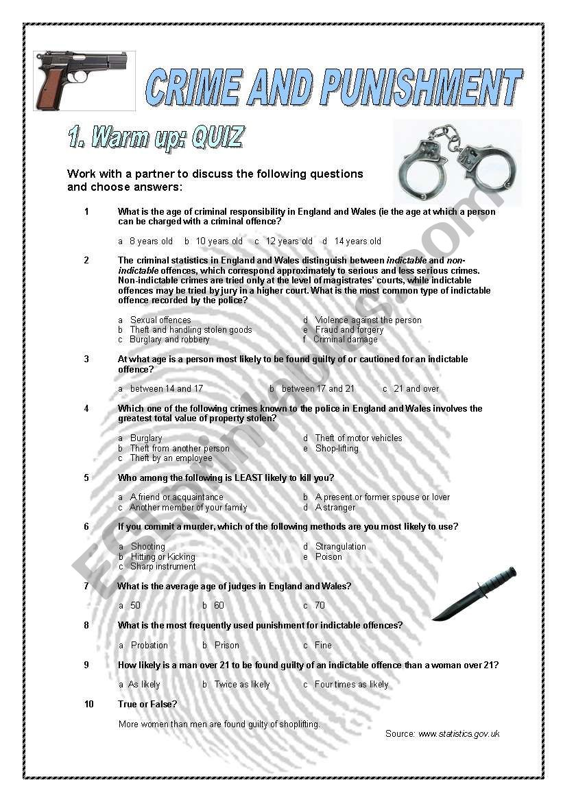 Crime and Punishment worksheet