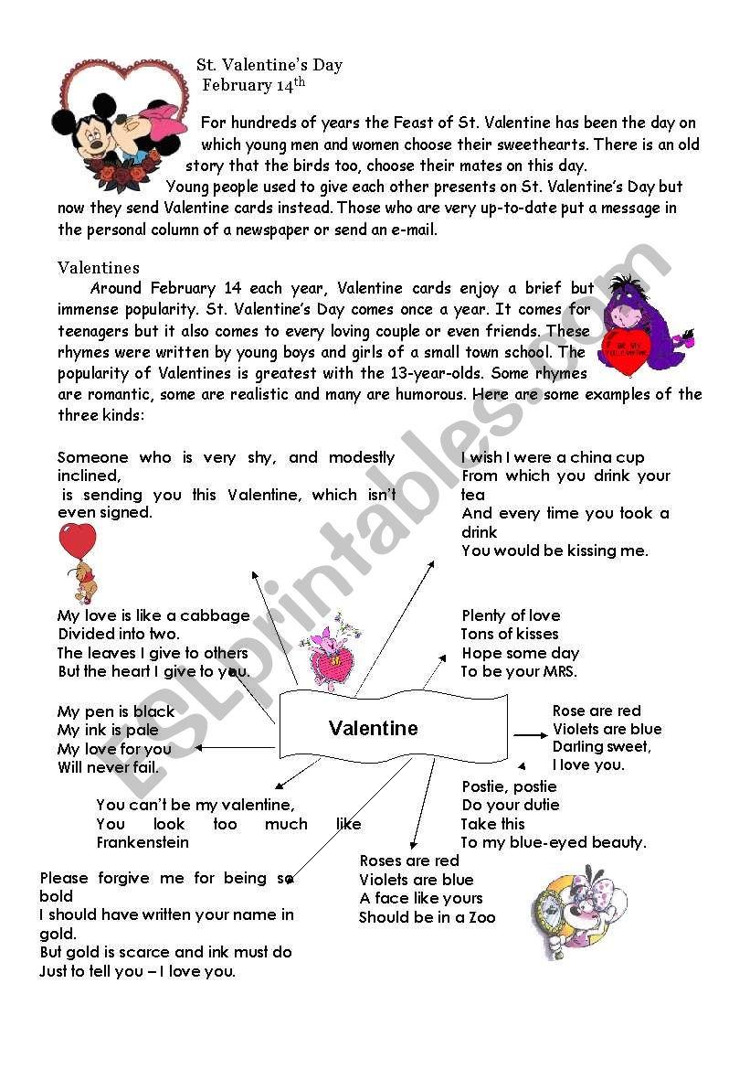 St Valentine worksheet