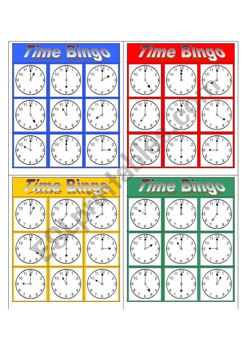 Simple Bingo (3x3) - Time worksheet