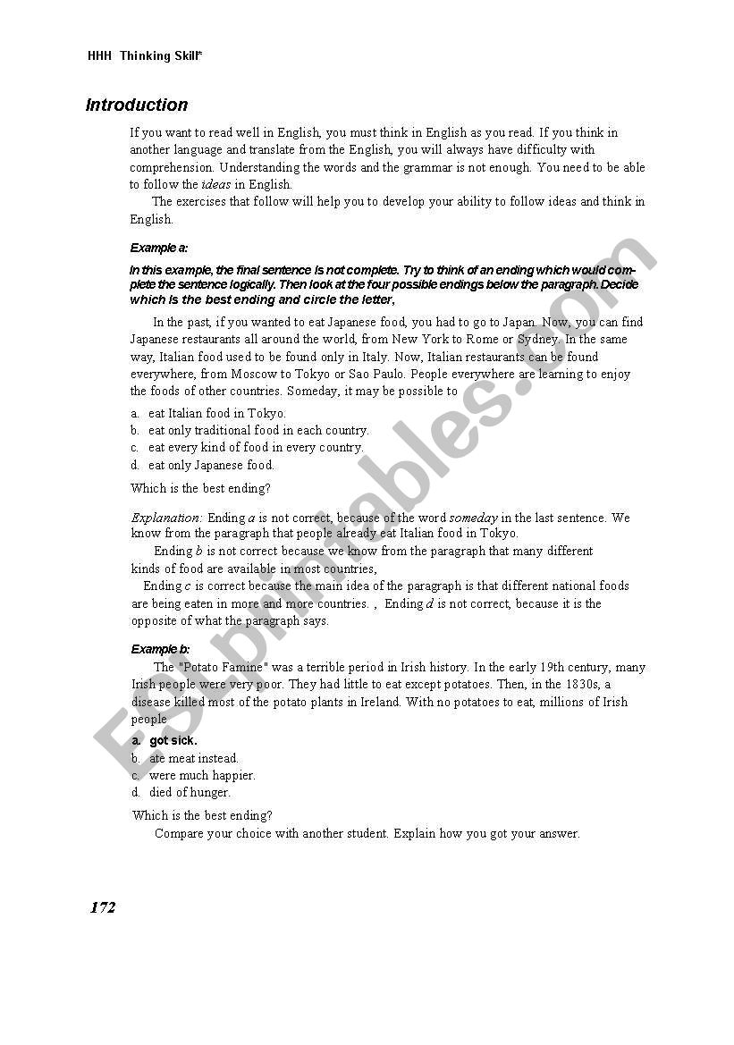 critical thinking passsages worksheet