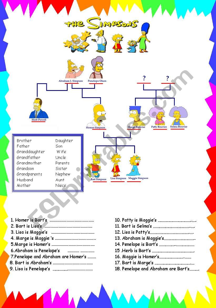 the simpsons family worksheet