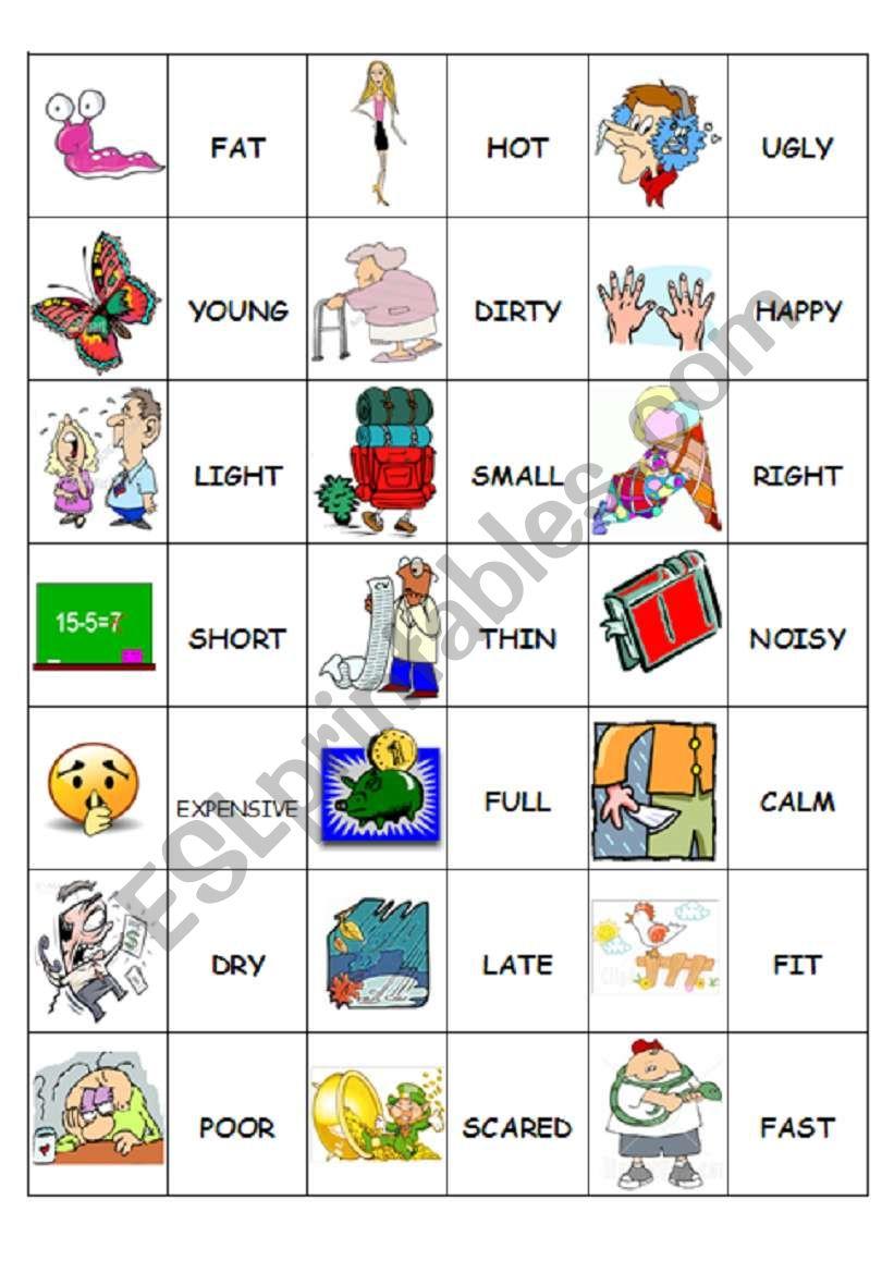 Domino Antonyms 1/2 worksheet
