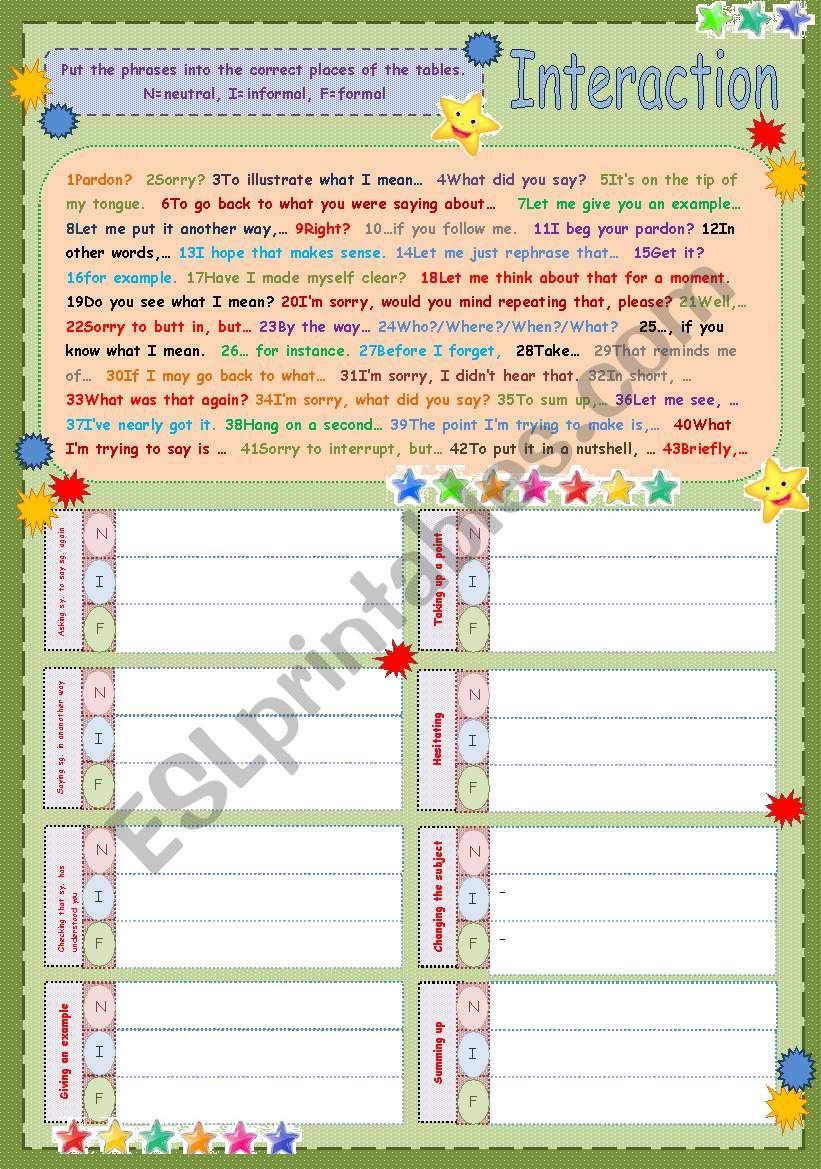 Interaction worksheet