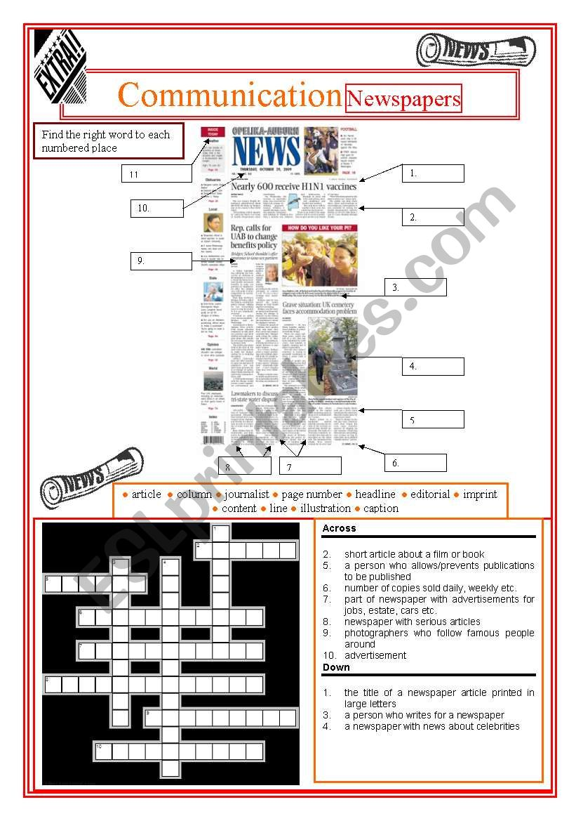 Communication -  Newspapers worksheet