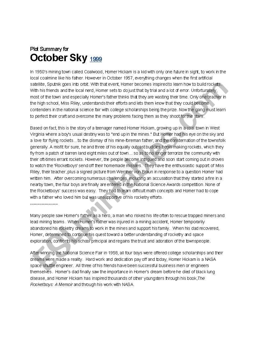 English Sample Essay English Worksheets October Summary And Essay Question Jpg X October  Sky Essay Essay Style Paper also Example Of A Essay Paper October Sky Essay  Wwwtopsimagescom Short English Essays