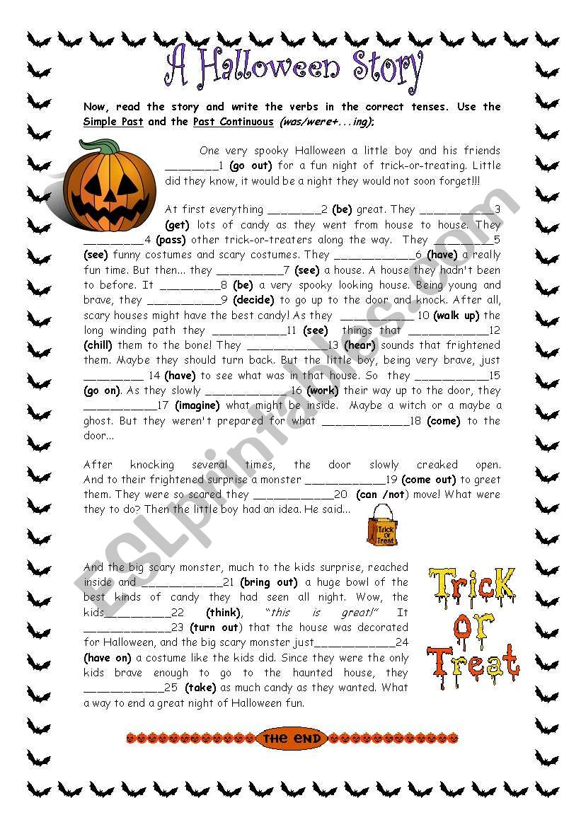 A  scary Halloween Story worksheet
