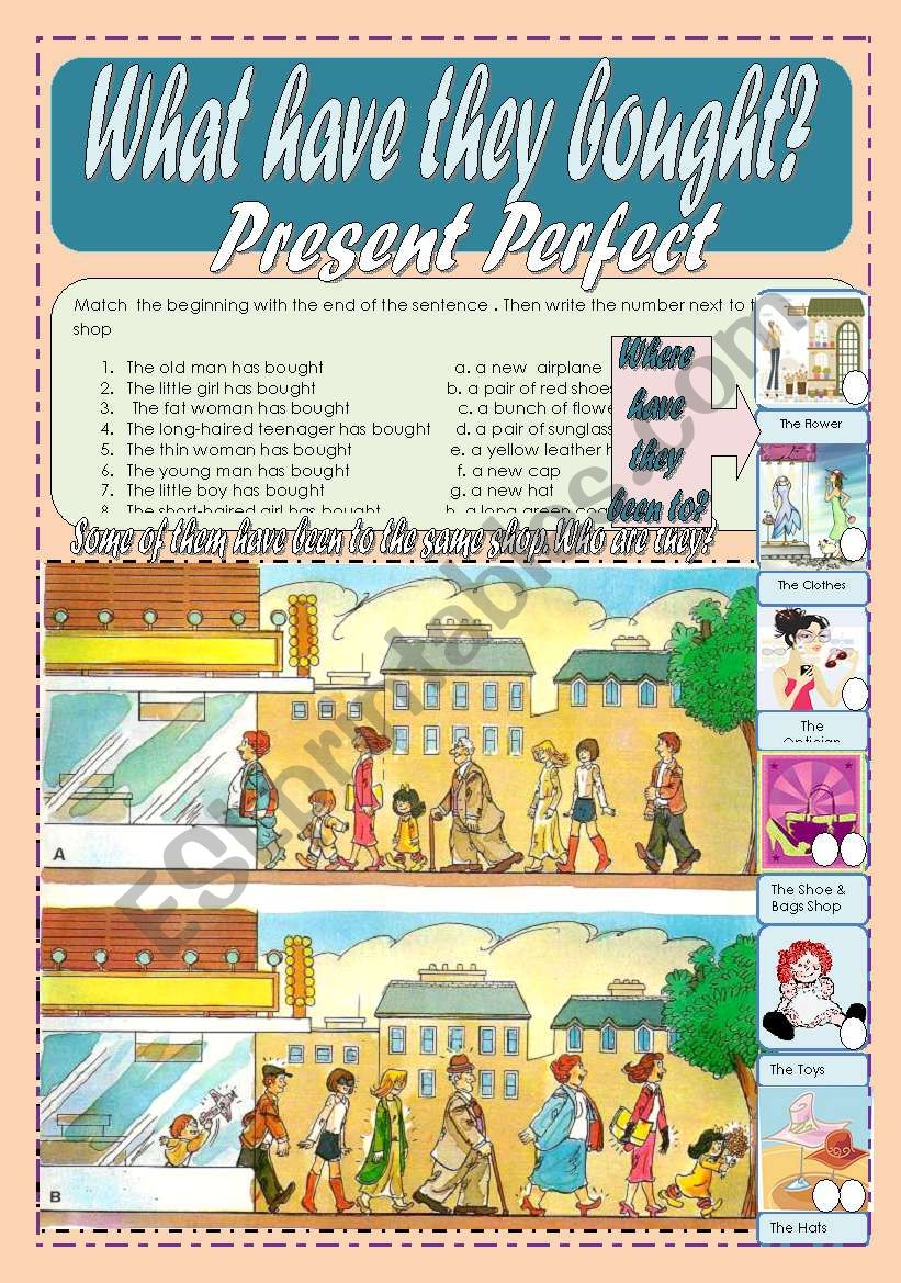 What have they bought? Where have they been to? Present Perfect WS 1