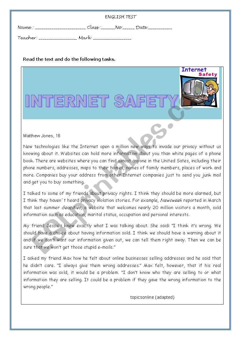 TEST-INTERNET SAFETY worksheet