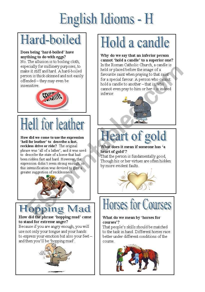 English Idioms - H (2) worksheet