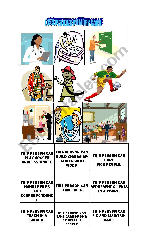 OCCUPATIONS MEMORY GAME worksheet