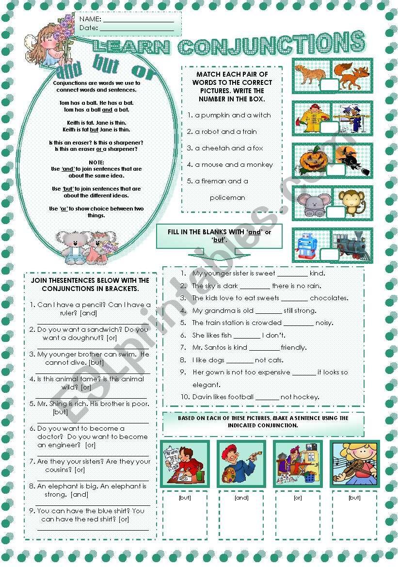 LEARNING  CONJUNCTIONS worksheet