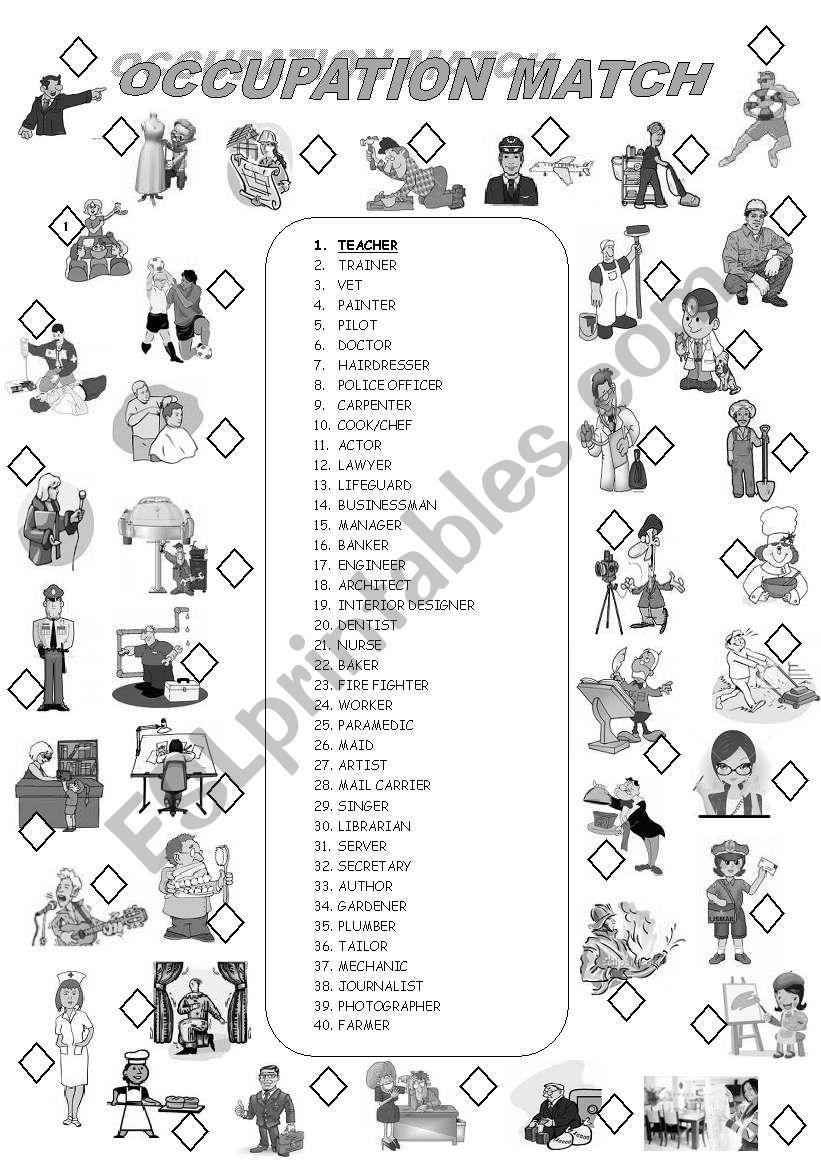 OCCUPATIONS 1/2 worksheet