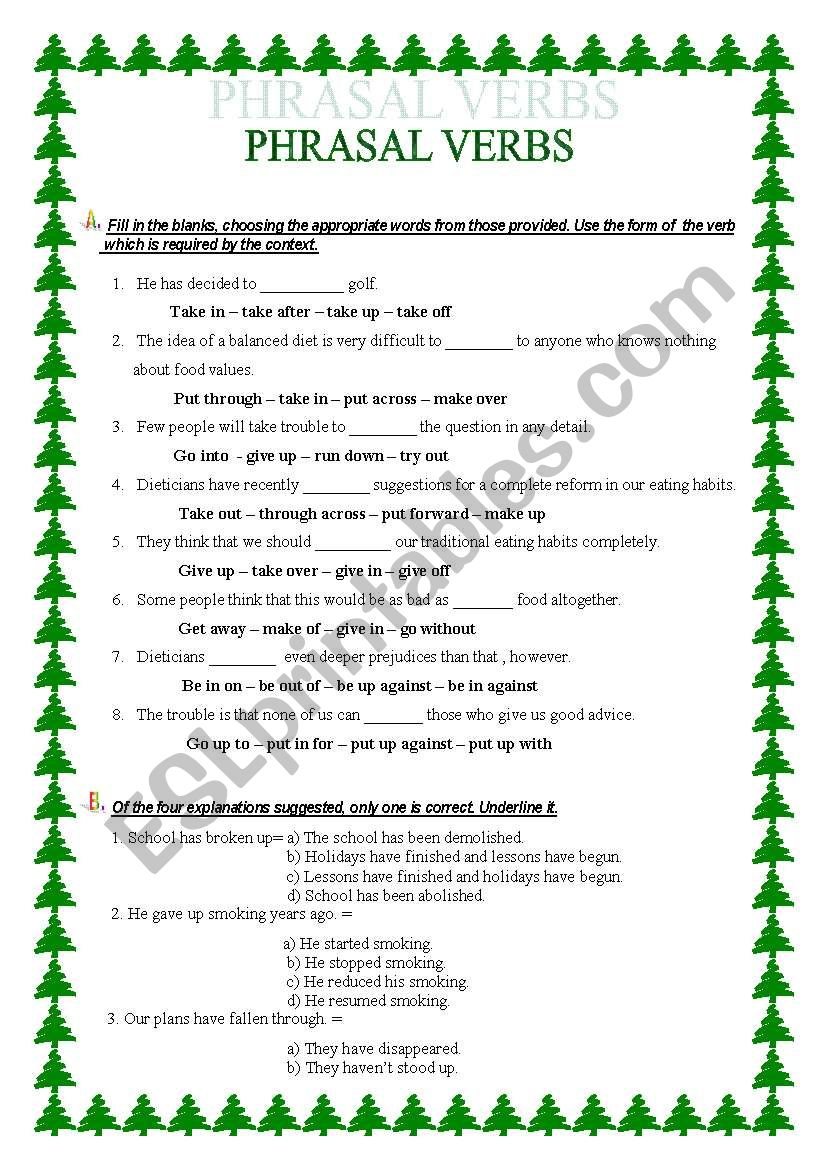 PHRASAL VERBS FOR ADVANCED STUDENTS