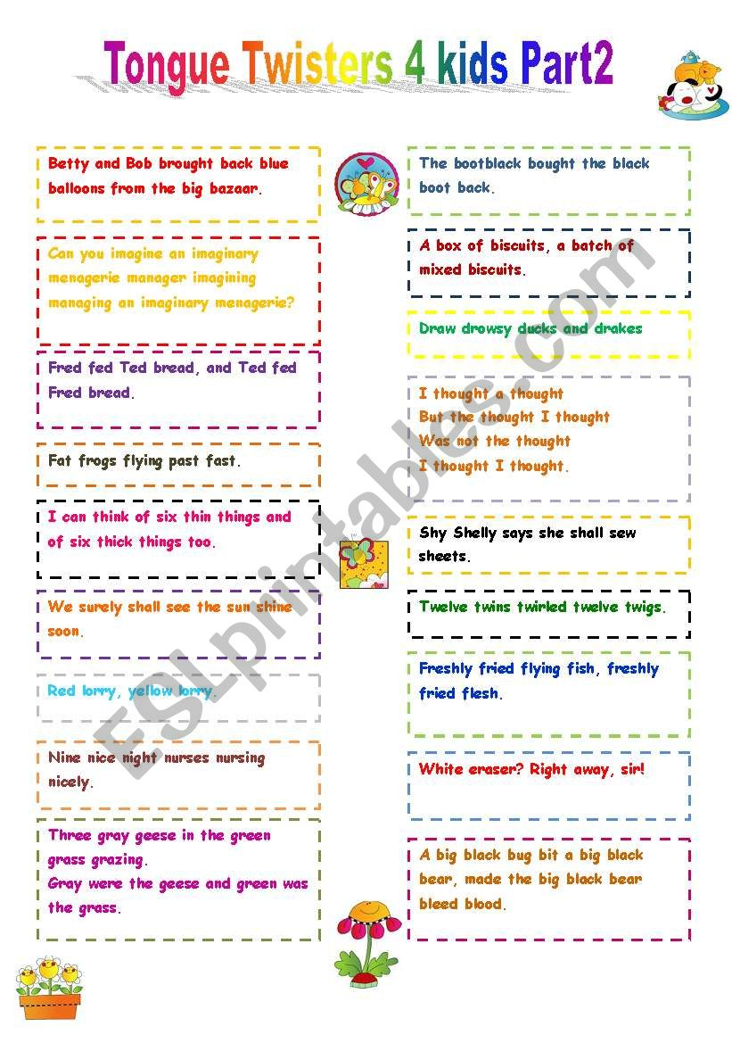 Tongue Twisters For Kids Part 2 ESL Worksheet By Amaras