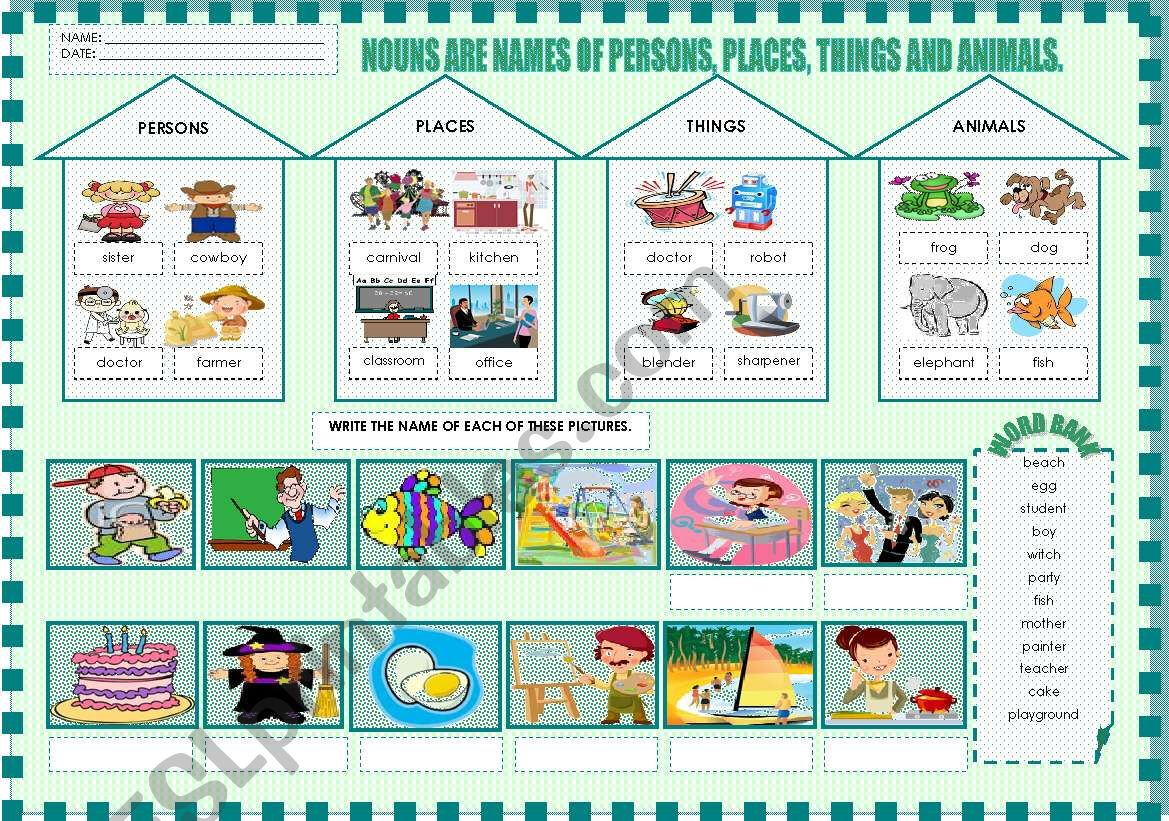 FUN WITH NOUNS - 1/2 worksheet