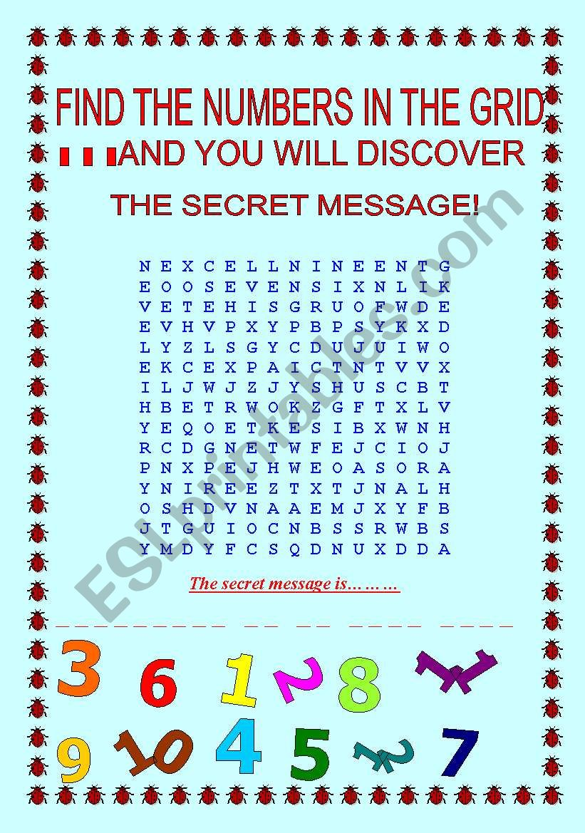 Numbers word search with hidden message - ESL worksheet by chiaras