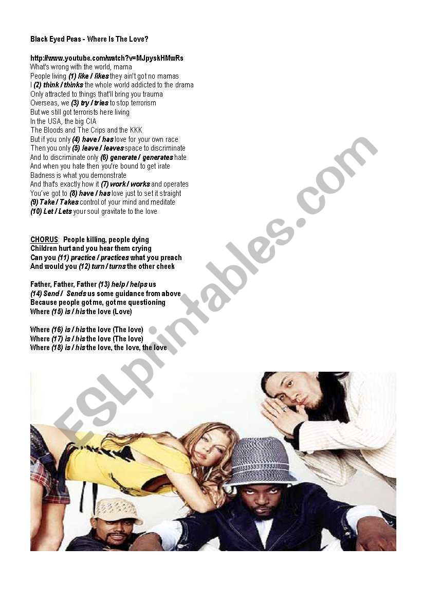 Present Simple & Present Continuous: Multiple choice exercise - song: «Where is the love?» BLACK EYED PEAS (4 pages)
