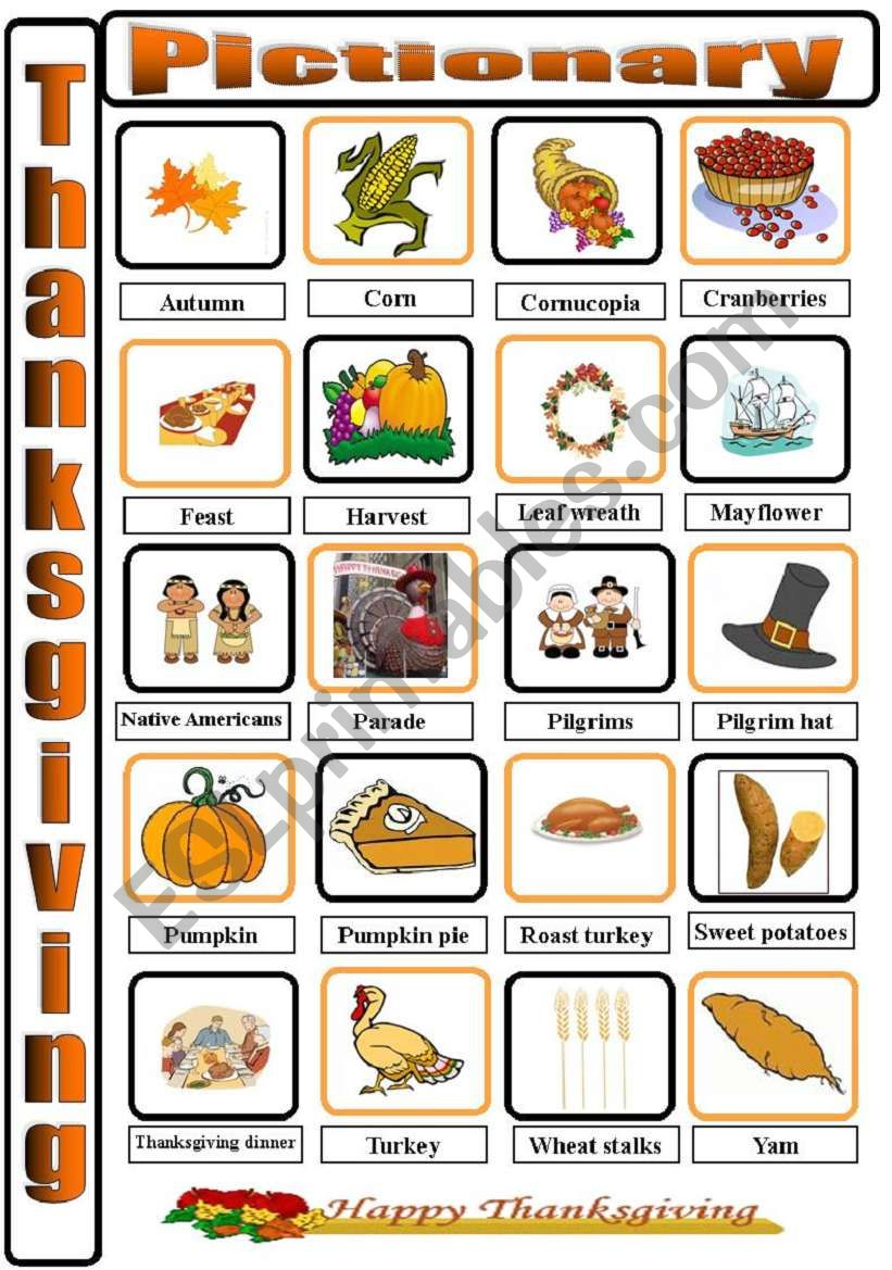 Thanksgiving Pictionary worksheet