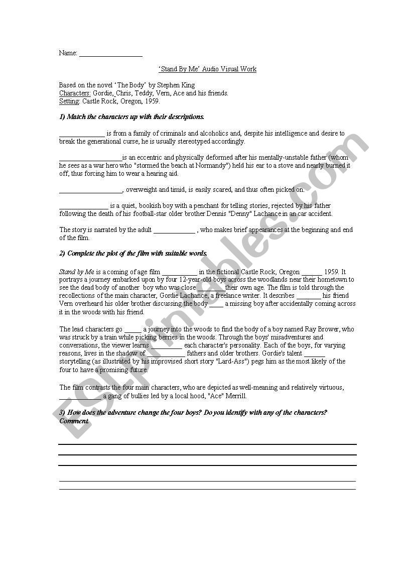 ´Stand by Me´ audiovisual worksheet