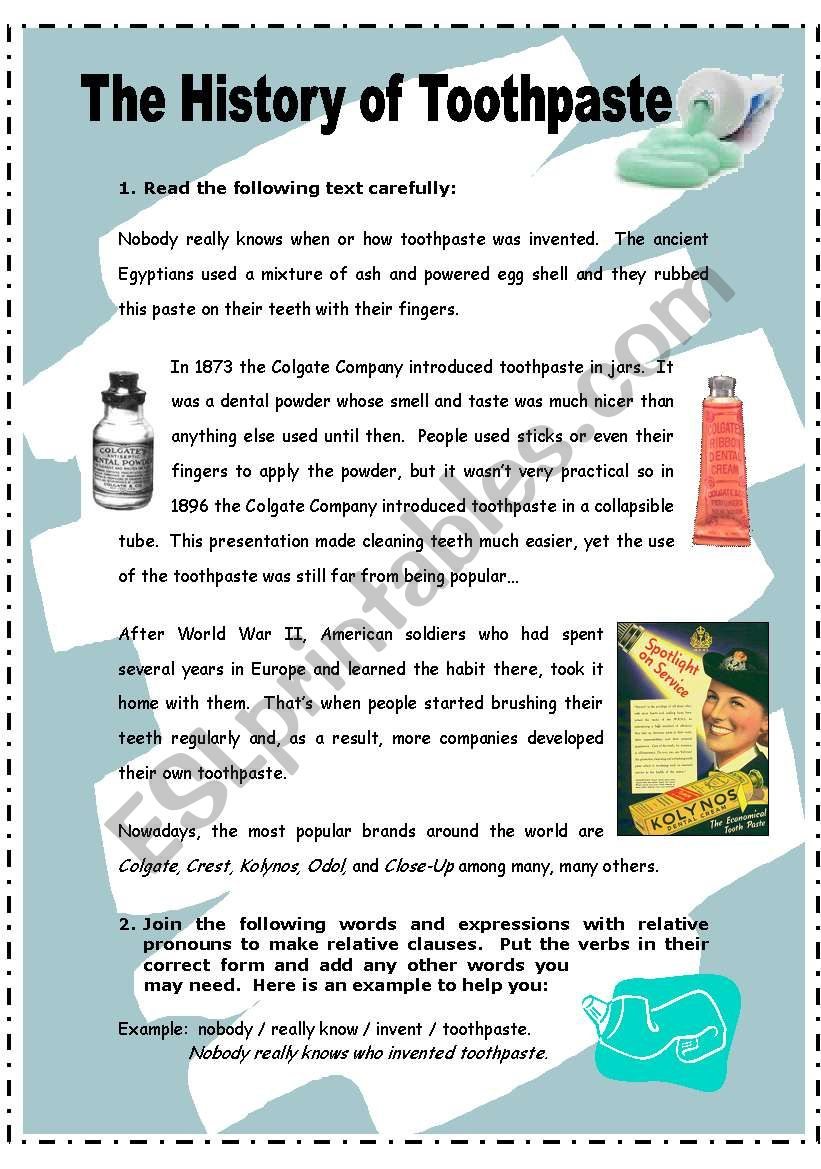 The history of toothpaste - 2 pages + key