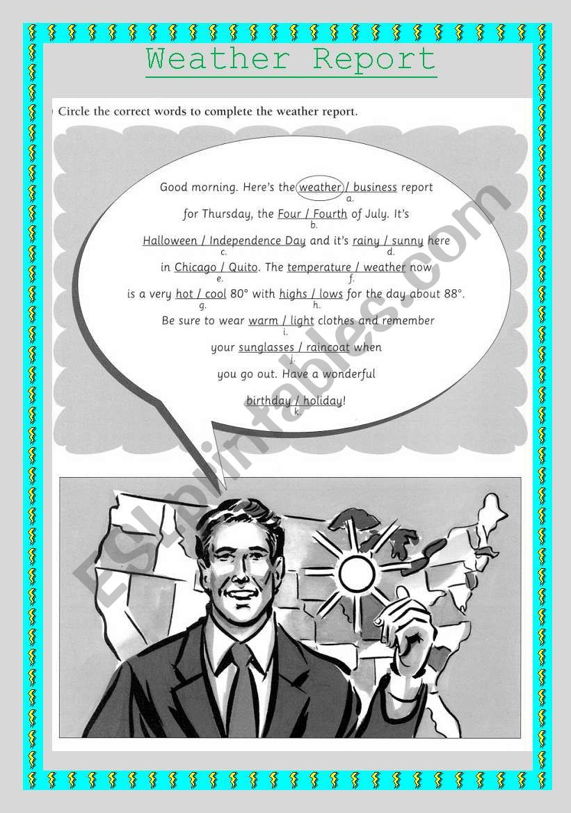 The weather report  worksheet